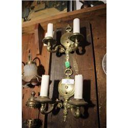 Pair Of Original Brass Wall Scones (Light Fixtures