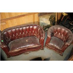 Antique Child's Deep Button Sofa & Chair