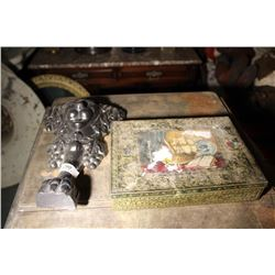 Cast Iron Foot & Tin Of Assorted Glass