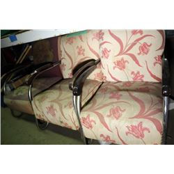 3 Chrome Upholstered Arm Chairs