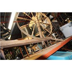 Large Antique Walking Spinning Wheel