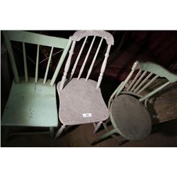 3 Painted Antique Chairs