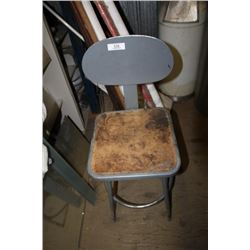 Vintage Industrial Stool With Back