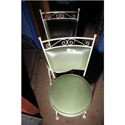 2 Green Vintage Ice Cream Parlor Chairs