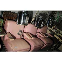 Hair Dressing Salon Vintage 3 Dryers & Chairs