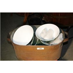 6 Reproduction Green Shades & Copper Boiler