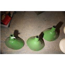 3 Vintage Green Lamp Shades
