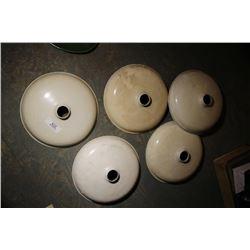5 Vintage White Lamp Shades