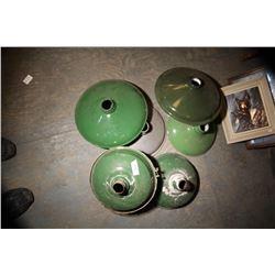 6 Vintage Green Lamp Shades