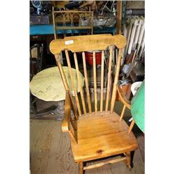 Pine Plank Bottom Rocking Chair