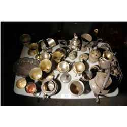 Tray Lot-Assortment Of Brass & Plated Mixed