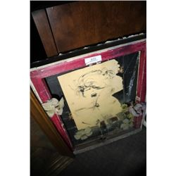 Lot-2 Pictures, 1 On Board &1 Old Mirror