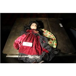 Child Doll Burgandy Velvet Dress