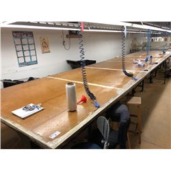 LARGE LAYOUT/FABRIC SPREADING TABLE, WITH TRACK GUIDED SPREADER, TABLE APPROX. 40' X 6.5'