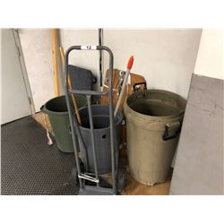 LOT OF WAREHOUSE SUPPLIES INC. HAND TRUCK, 4 WHEEL DOLLIES, GARBAGE BINS AND MORE