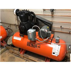 DEVAIR MODEL 247 2 CYLINDER DUAL STAGE ELECTRIC AIR COMPRESSOR, 175 PSI, 80 GALLON TANK,