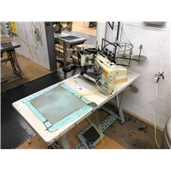 YAMATO MODEL FD-62G-12MR 4 NEEDLE, 6 THREAD FLAT SEAMER MACHINE AND STATION