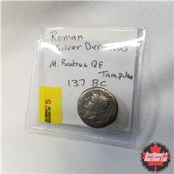 Roman Silver Denarius, M. Baebius Q.F. Tampil, 137 BC