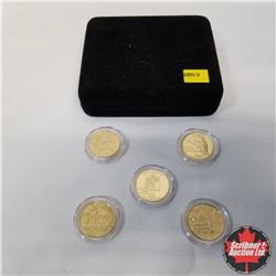 2008 USA Proof 24k Gold Plated State Quarters (5) in presentation case, Oklahoma, Alaska, Hawaii, Ne