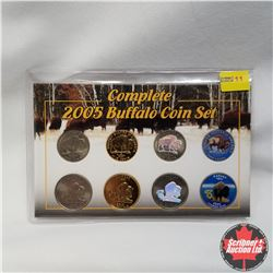 USA 2005 Buffalo 8 coin set:  2005 Buffalo Nickel & 2005 Kansas State Quarter in all 4 editions:  co