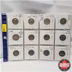 Canada 5¢ - Sheet of 12:  1947-1966 with minor errors & varieties
