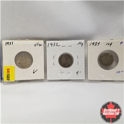 Canada 10¢ - Strip of 3:  1931, 1932, 1934