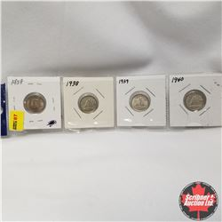 Canada 10¢ - Strip of 4: 1937, 1938, 1939, 1940