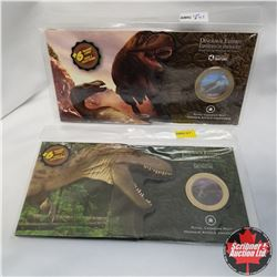 2010 RCM 50¢ Dinosaur Exhibit (2 Sets): Coin & 6 trading cards