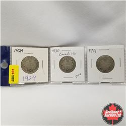 Canada 25¢ - Strip of 3: 1929, 1930, 1931