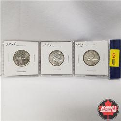 Canada 25¢ - Strip of 3: 1943, 1944, 1945