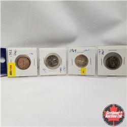 Canada 25¢ - Strip of 4: 1962, 1963, 1964, 1967