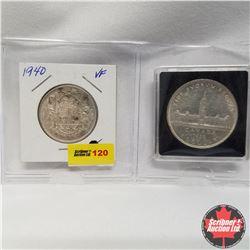Canada - Strip of 2: 1940 Canada 50¢ & 1939 Silver Dollar in Quadrum