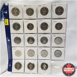 Canada 50¢ Collection - Sheets 38 Coins: Assorted 1968-2007