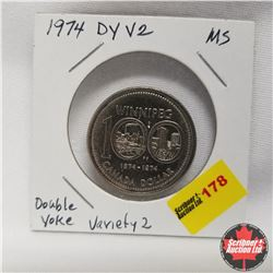 1974 Canada Dollar Double Yoke Variety 2 Mint State