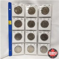 USA Eisenhower Dollars - Sheet of 12: 1971 (2); 1972 (2); 1974 (2); 1976 (2); 1977 (2); 1978 (2)