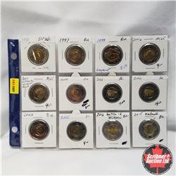Canada Toonies - Sheet of 12: 1996; 1997; 1999; 2000; 2000; 2000; 2001; 2002; 2003; 2005; 2015; 2016