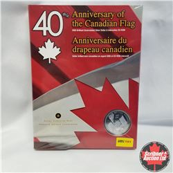 "2005 Brilliant Uncirculated Silver Dollar & Interactive CD-ROM ""40th Anniversary Of Canadian Flag"""