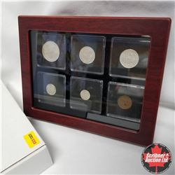 Newfoundland Coins in Display Box:  1918 50¢, 1917 25¢, 1912 20¢, 1941 10¢, 5¢, 1¢