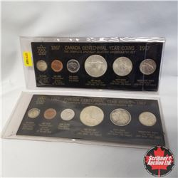 1867-1967 Canada Centennial Year Coins UNC (2 Sets)