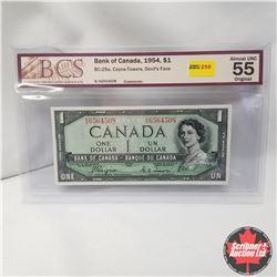 1954 Canada $1 Bill, Devil's Face, B/A6564508, Coyne/Towers (BCS Graded: Almost UNC 55 Original)
