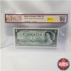 1954 Canada $1 Bill, Devil's Face, D/A7834788, Coyne/Towers (BCS Graded: Almost UNC 50 Original)