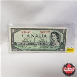 1954 Canada $1 Bill, Devil's Face, R/A6908827, Beattie/Coyne