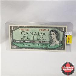 1954 Canada $1 Bill, E/Y8347543, Beattie/Rasminsky