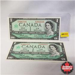 1967 Canada $1 Bills (2 Sequential): M/O2682516-17, Beattie/Rasminsky
