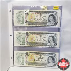 1973 Canada $1 Bills (Duotang - 24 Bills) Some Sequential - Variety, Crow/Bouey UNC