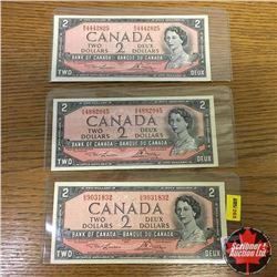 1954 Canada $2 Bills (3): UG9031832; MG4442825; OG4882045 Lawson/Bouey AU