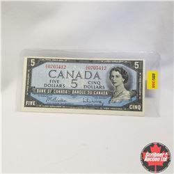 1954 Canada $5 Bill, X/S0705412, Beattie/Rasminsky