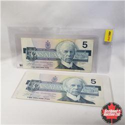 1986 Canada $5 Bills (Replacement Notes) (2) Thiessen/Crow: FNX7163436 Sm. F, FNX4864322 Lge F