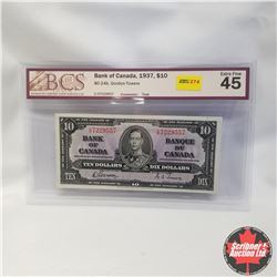 1937 Bank of Canada $10 Bill, C/C7229557, Gordon/Towers, (BCS Graded: Extra Fine 45)