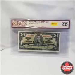 1937 Bank of Canada $20 Bill, K/E3878801, Coyne/Towers, (BCS Graded: Extra Fine 40)